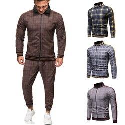 2020 мужской спортивный костюм, мужской модный спортивный костюм, мужские комплекты, брендовая клетчатая толстовка на молнии + спортивные шта...