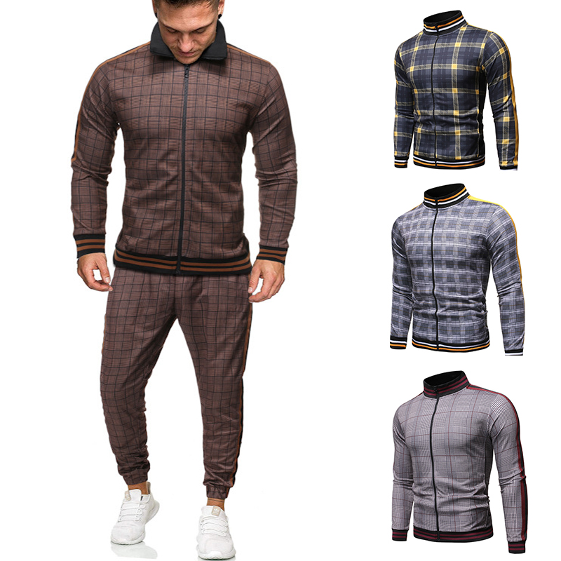 2020 Gentlemen Tracksuit Men Fashion Sporting Suit Men Sets Brand Plaid Zipper Sweatshirt+Sweatpants Mens Clothing 2 Pieces Sets