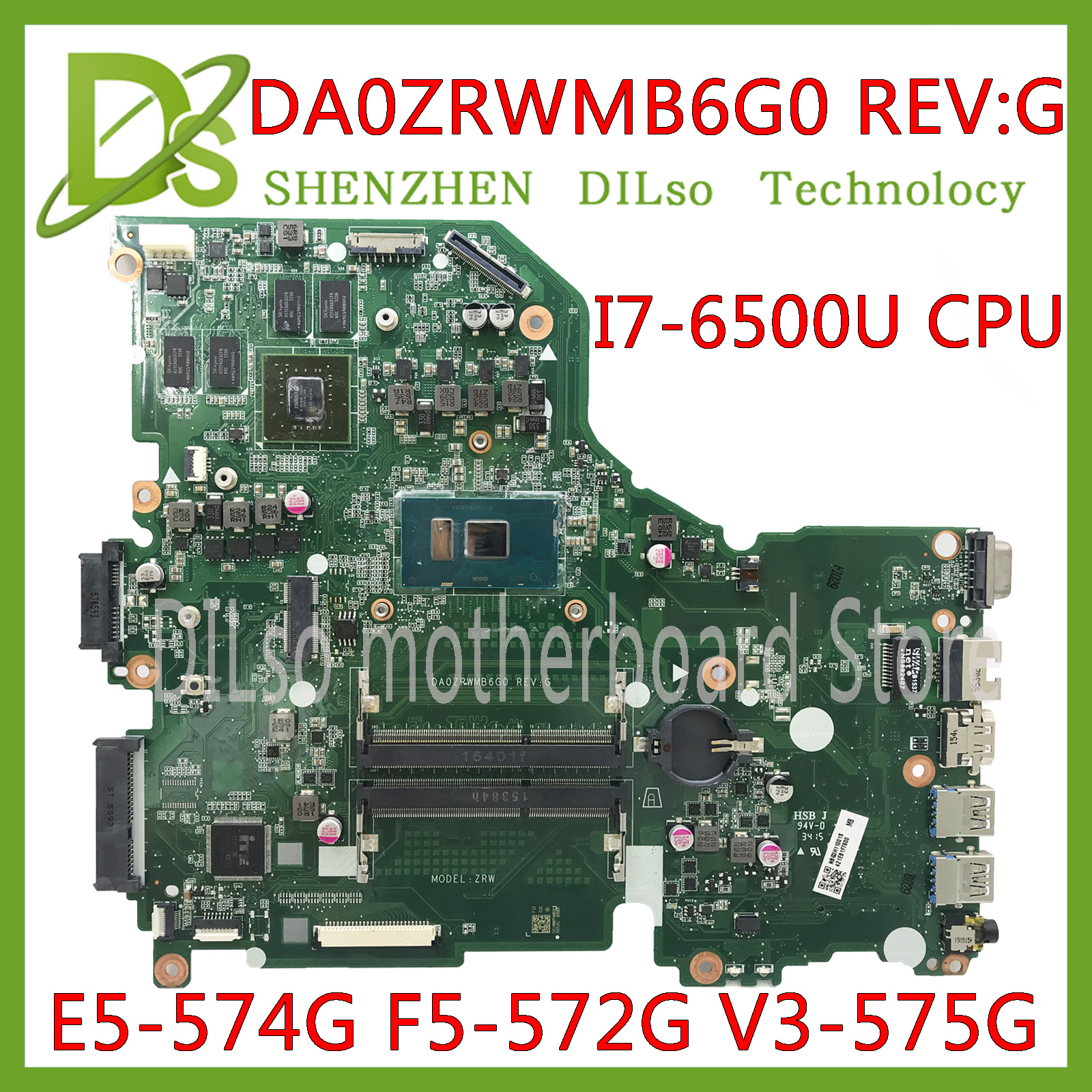KEFU E5-574G Mainboard For Acer Aspire E5-574 E5-574G F5-572 V3-575 V3-575G Motherboard I7-6500U CPU DA0ZRWMB6G0 Test Original