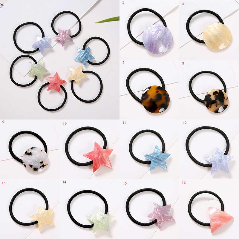 Géométrique chouchous cheveux corde Triangle rond acétate élastique élastique élastique Haar accessoires anneau de cheveux filles chapeaux couvre-chef