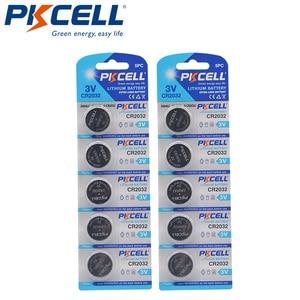Image 1 - 10PCS PKCELL CR2032 2032 3V כפתור סוללות BR2032 DL2032 ECR2032 Unrechargeable סוללות 3V LiMnO2 כפתור מטבע תאים סוללה