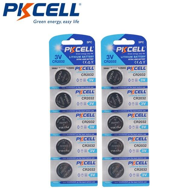 10PCS PKCELL CR2032 2032 3V כפתור סוללות BR2032 DL2032 ECR2032 Unrechargeable סוללות 3V LiMnO2 כפתור מטבע תאים סוללה