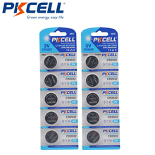Кнопочные батареи PKCELL CR2032 2032 3 в, 10 шт., BR2032 DL2032 ECR2032, неперезаряжаемые батареи 3 в LiMnO2, кнопочные элементы питания