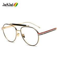 Jackjad 2020 moda vintage redondo estilo metal simples óculos design da marca três cores listras eyewear quadro de grau bt117