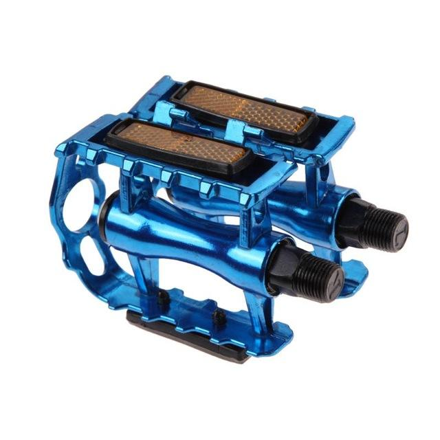 1Pair MTB Ultralight Bike Bicycle Pedals Mountain Road Bike Part Pedal Cycling Aluminum Alloy Ultra-Light Hollow Flat CagePedals - Color: Blue