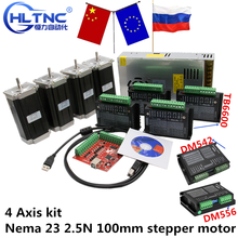 4 Axis kit cnc  Nema 23 2.5N 100mm stepper motor TB6600 DM542 dm556 driver + USB mach3 Controller card cable+ 350W power supply