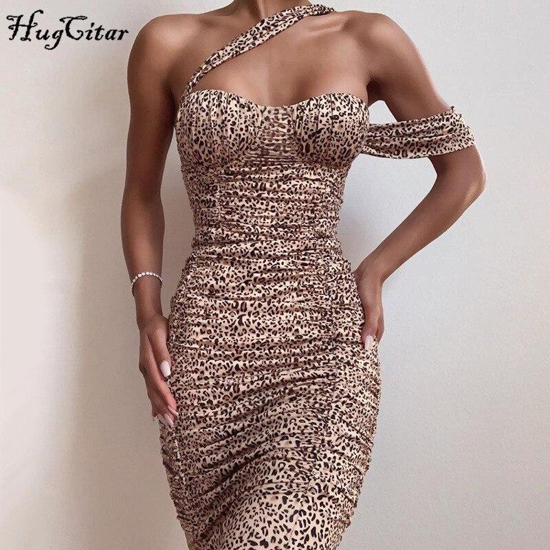 Hugcitar 2019 Leopard Print Sleeveless Sexy Midi Dress Autumn Winter Women Party Elegant Outfits Streetwear Bodycon Dresses