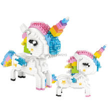 hot LegoINGlys creators classic horse myth animal Rainbow Unicorn mini micro diamond building blocks model nano bricks toys gift стоимость
