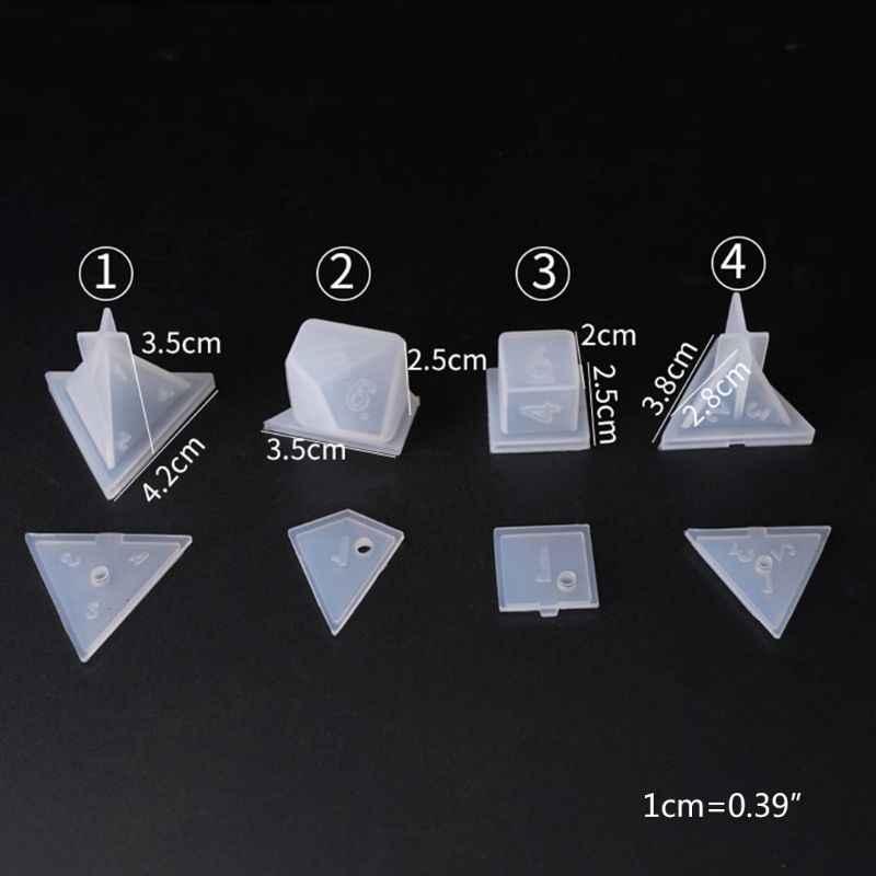 Bricolage cristal époxy moule dés filet forme multi-spec jeu numérique haute miroir Silicone moule faisant des accessoires