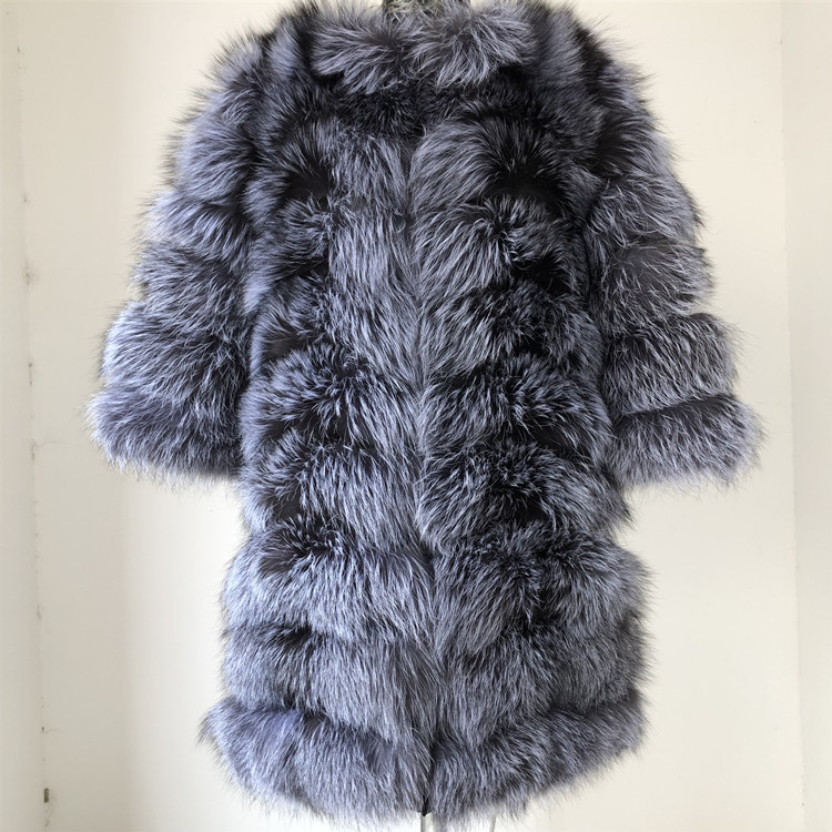 100% Natural Real Fox Fur Coat Women Winter Genuine Vest Waistcoat Thick Warm Long Jacket With Sleeve Outwear Overcoat plus size 35