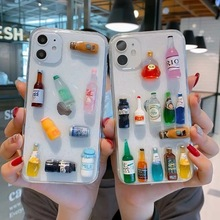 INS Funny Summer Lovely Mineral water drink bottle soft phone case for iphone X XR XS 11 11PRO MAX 7 8 plus Clear back cover