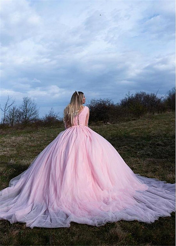 Pink Tulle Quinceanera Dresses Ball Gown Sheer Long Sleeves Party Prom Dresses Lace Appliques vestidos de quinceaneras