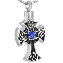 Maltese Cross with blue crystal pendant Necklace For women men elegant Jewelry charm Ashes Locket souvenir custom color(China)