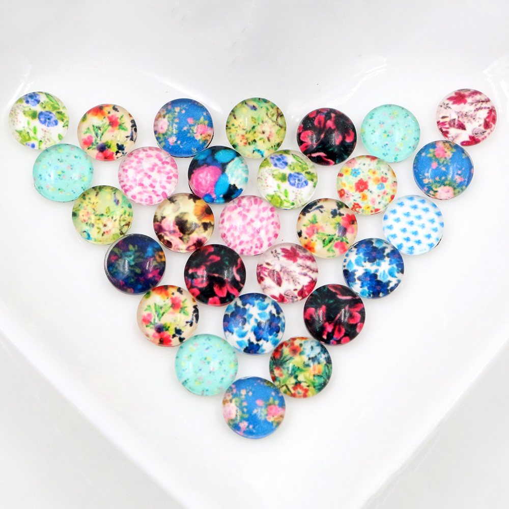 New Fashion Hot Sale 50pcs 8mm Mixed Colors Flower Style Handmade Photo Glass Cabochons-C7-41