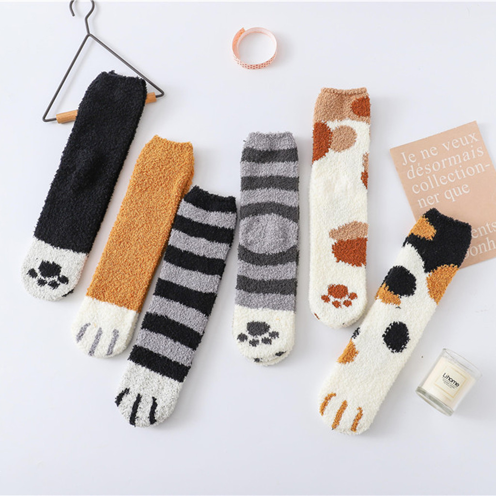 Women Fashion Lovely Cat Claw Coral Thickening Fuzzy Middle Socks Home Sleeping Animal Socks Hosiery 2019 Hot Sell12.7