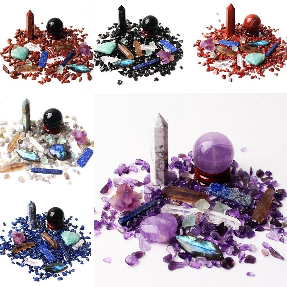1 набор много смешанных натуральных мини кристаллов обелиск шариковая палочка сердце гравий минералы образец Рейки Исцеление дома декорат...
