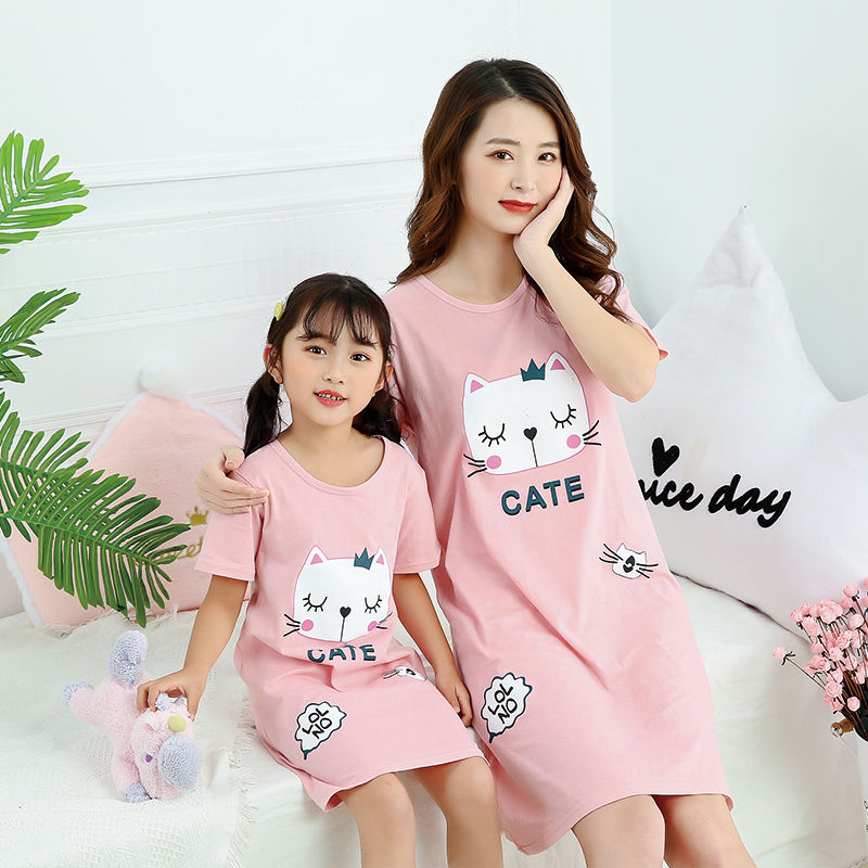 Summer Girls Nightgowns Pajamas Kids Short Sleeved Nightdress Cute 100% Cotton Child Baby Sleeping Dress Size 8 10 12 14 Years