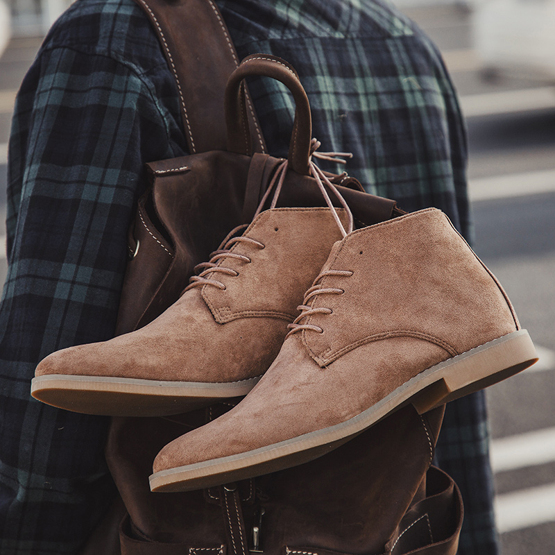 Men's Chelsea Boots Men Cow Suede Martin Ankle Boots Mens Lace-up Leather Dress Shoes Male Casual England Style Drop Shipping