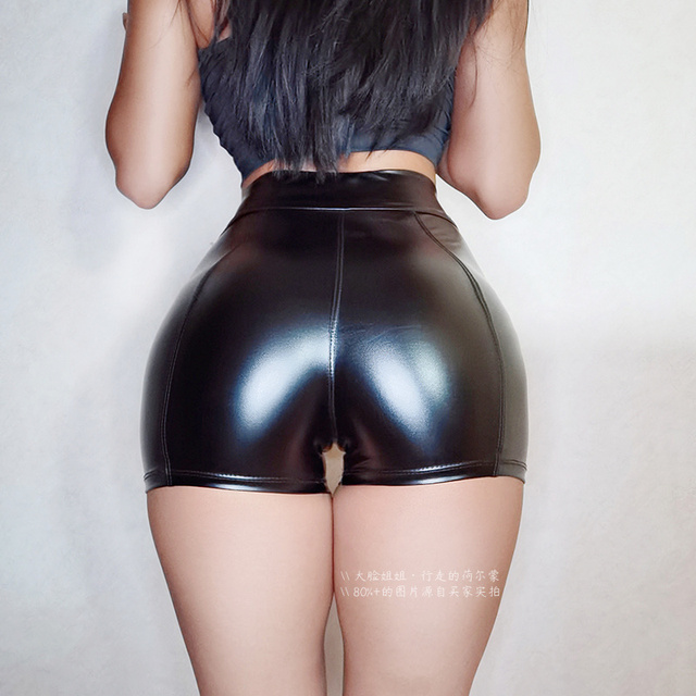 WOMENGAGA Super Elastic High Waist Skinny Hip Casual Shorts Plus Large Size Tight Sexy Fitness Leather PU Women's Hot Korean NP2 1
