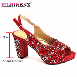 Image 5 - ฤดูหนาวใหม่อิตาเลี่ยนออกแบบไนจีเรียผู้หญิงรองเท้าและกระเป๋า Match คุณภาพสูง Shinning สีแดงคริสตัลสำหรับงานแต่งงาน