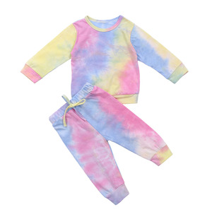 Infant Kids Baby Girl's Cotton Long-sleeved Tie-dye Suit Fresh Round Neck Pullover Top Elastic Waist Long Pants Colorful Sets