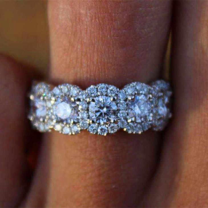 럭셔리 여성 빅 크리스탈 라운드 약혼 반지 귀여운 925 실버 지르콘 스톤 링 빈티지 결혼 반지 여성을위한