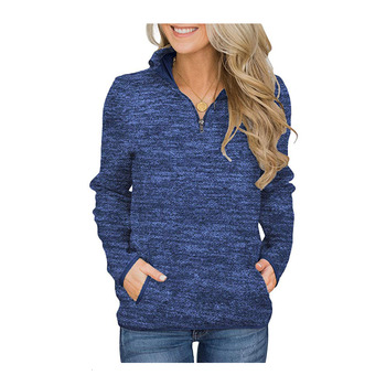 Women Autumn Casual Stand Collar Pullover Solid Color Long Sleeve Zipper Jacket With Pockets Moleton Feminino Inverno Rz* цена 2017