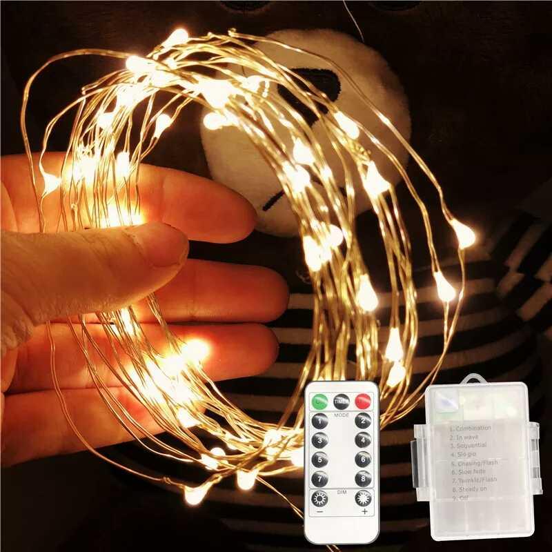 LED 문자열 조명 10M 5M 2M 실버 와이어 갈 랜드 홈 크리스마스 웨딩 파티 장식 5V 배터리에 의해 구동 USB 요정 빛