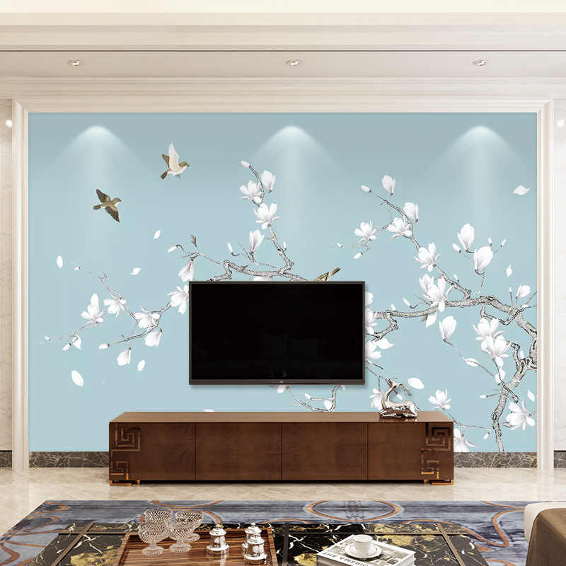 Living Room Chinese Style TV Backdrop Wallpaper Modern Minimalist 3D European Style Wallpaper Nonwoven Fabric Bedroom Wall Wallp