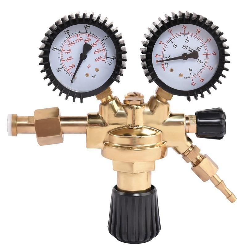 Brass Ar/Co2 Meter Reductor Argon Regulator Carbon Dioxide Regulator Mini Pressure Reducer Dual Gauge 0-4500 Psi Carbon Dioxide
