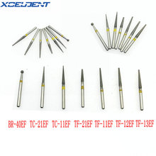 50Pcs Dental Diamant Bohrer Grit Gelb/Extra Feine Fit High Speed Handstück 1,6mm BR-40EF/TC-11EF/ TF-12EF/TF-13EF Zahnmedizin Werkzeuge