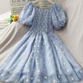 Daisy Blumen Stickerei Sommer Kleid Frauen Puff Hülse Slash Neck Lange Midi Kleid Elegante Vintage Mesh Kleid Koreanische Sexy X183