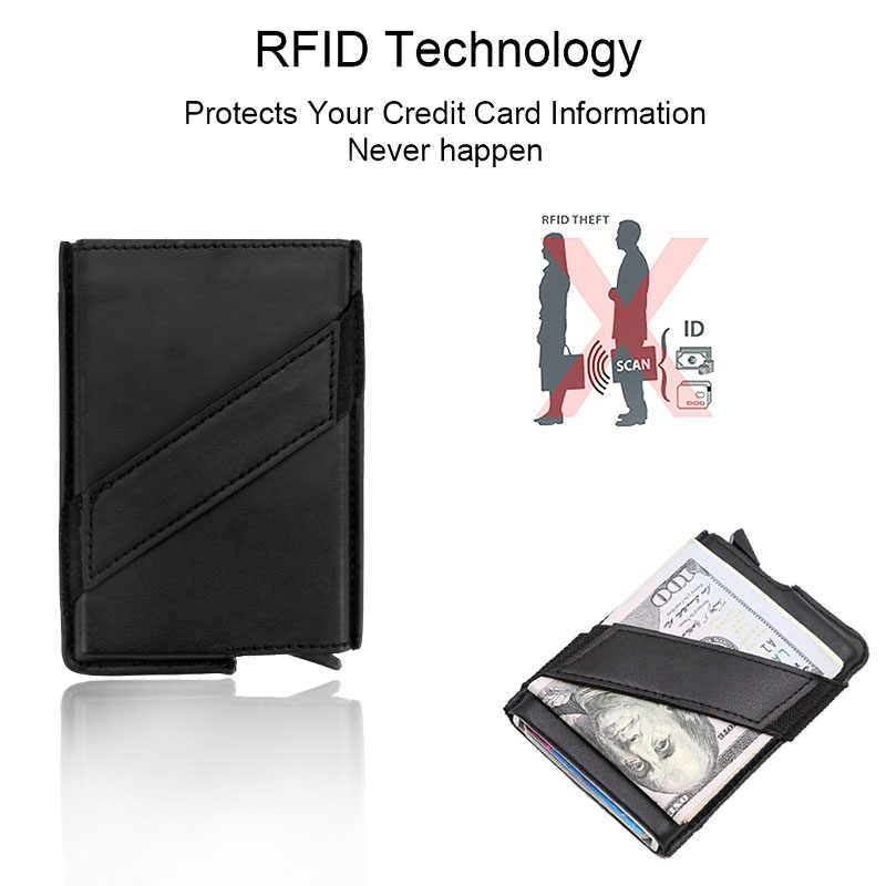 DIENQI Anti Rfid Blocking Credit Card Holder Men Minimalist Wallet Metal Vintage Business Bank Creditcard Card Protector Case