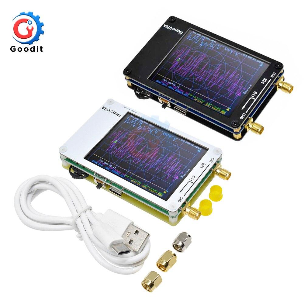 2.8 polegada display lcd nanovna nano vna vector analisador de rede analisador de antena onda ereta mf hf vhf uhf genius 50 khz-300 mhz