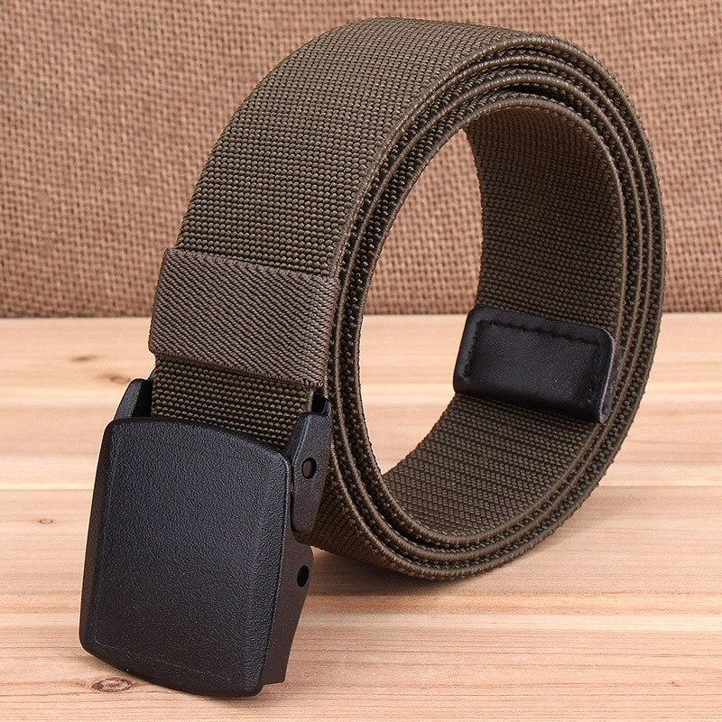 3.8cm Tactical Military Elastic Canvas Nylon Braid Belt Men Army Waistband with Plastic Buckle Military Training Equipment D35