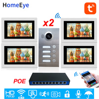 4 Family 2 Door Access Control System 720P 7'' WiFi IP Video Door Phone Video Intercom TuyaSmart APP Remote Unlock POE Supported
