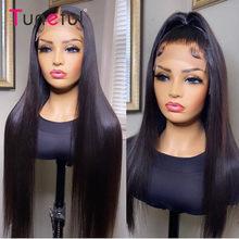 Pelucas con cierre de encaje liso, pelucas de cabello humano con malla con división Frontal, cabello humano, Remy indio, pelucas de cabello humano