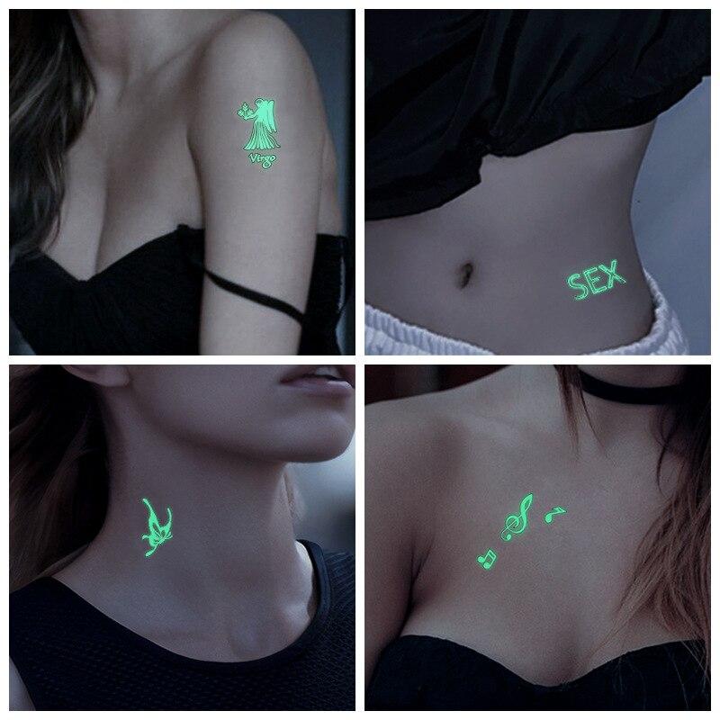 Halloween Luminous Tattoo Sticker Animal Fluorescent Waterproof Temporary The Body Art Party Tattoo Stickers