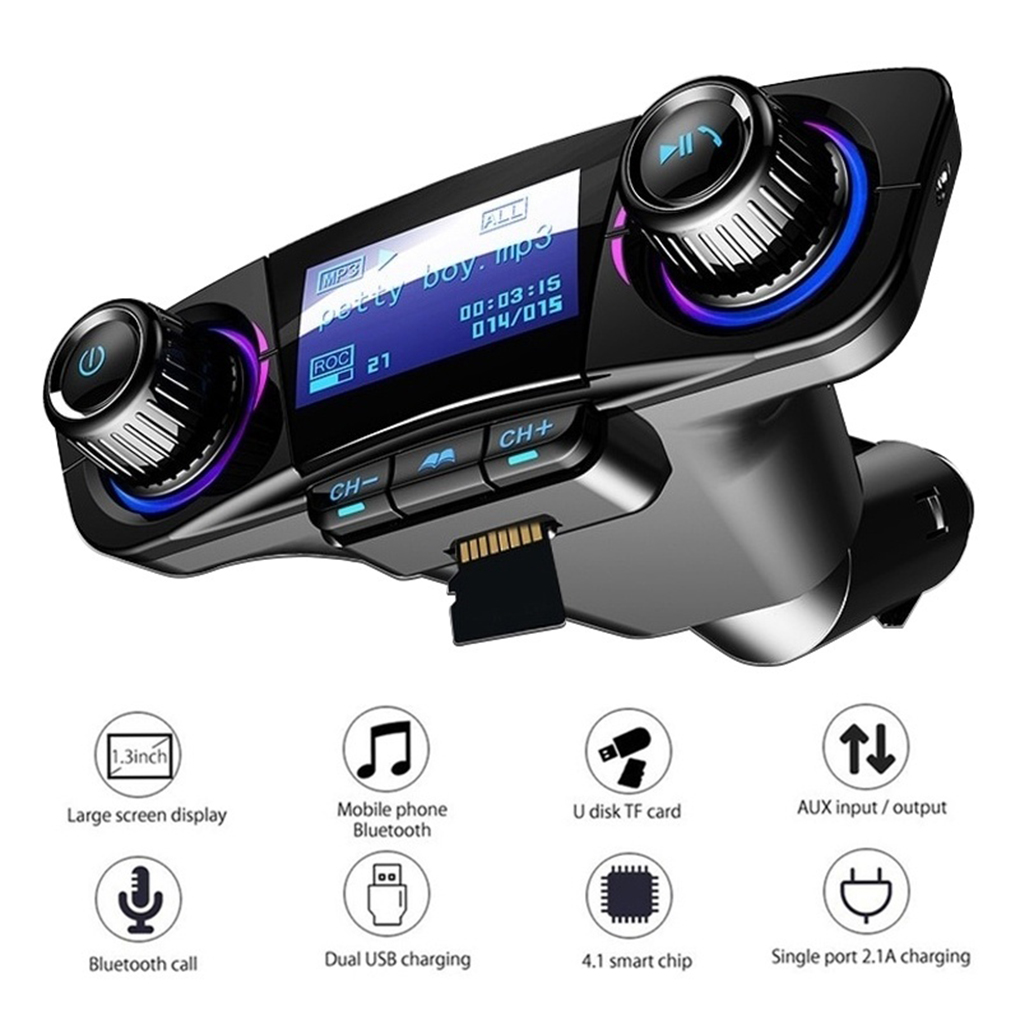 Car Audio MP3 Player Kit Handsfree Wireless Bluetooth FM Transmitter LCD Aux Modulator Smart Charge Dual USB Car Charger Gagets