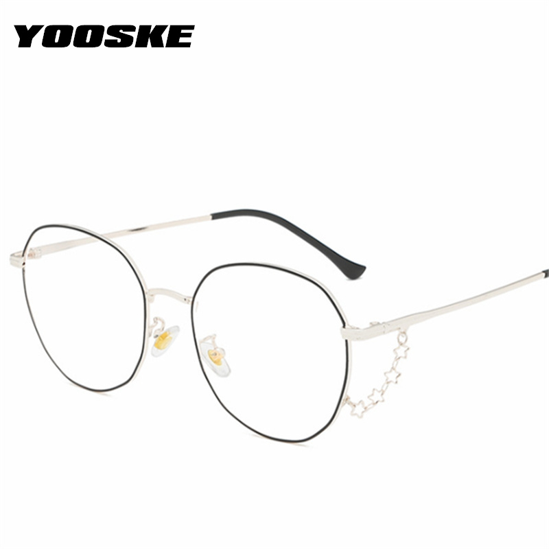YOOSKE Metal Anti-blue Light Glasses Frame Women Men Transparent Lens Optical Computer Spectacles Unisex Myopia Eyeglaases Frame