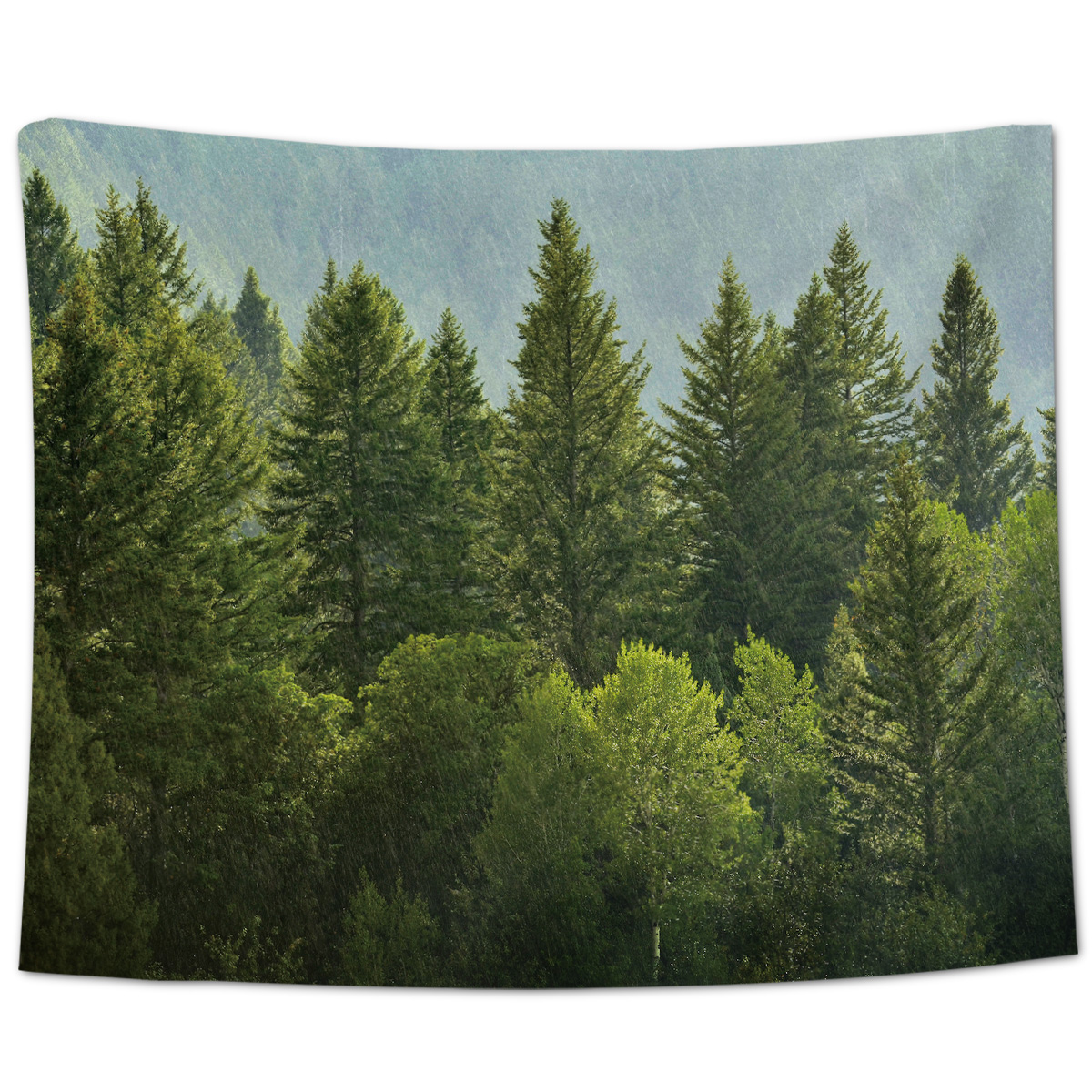 Green Pine Forests And Rain On Hillsides Tapestry Wall Decor Wall Art Home Art For Living Room Decoration