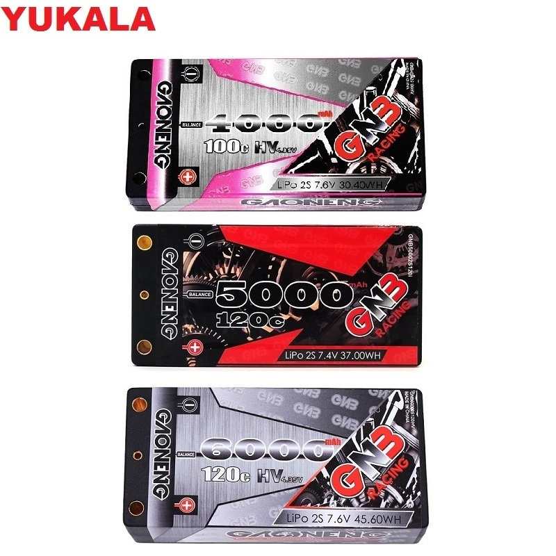 7.4V 7.6V 4000MAH/5000MAH/5600MAH/<font><b>6000MAH</b></font> <font><b>2S</b></font> low profile Hardcase Super SHORTY HV <font><b>LiPo</b></font> Battery pack 4.0mm Deans Plug for RC Car image