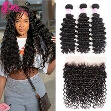 Beleza para sempre cabelo malaio onda profunda 3 pacotes com fechamento frontal do laço 13*4 parte livre 100% remy cabelo tece