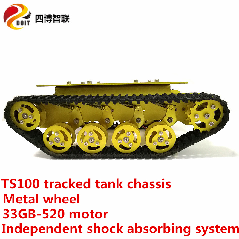 SZDOIT TS100 Shock Absorbing Tracked Smart Robot Tank Chassis Kit Metal Crawler Robotic Platform With 33GB-520 Motor For Arduino