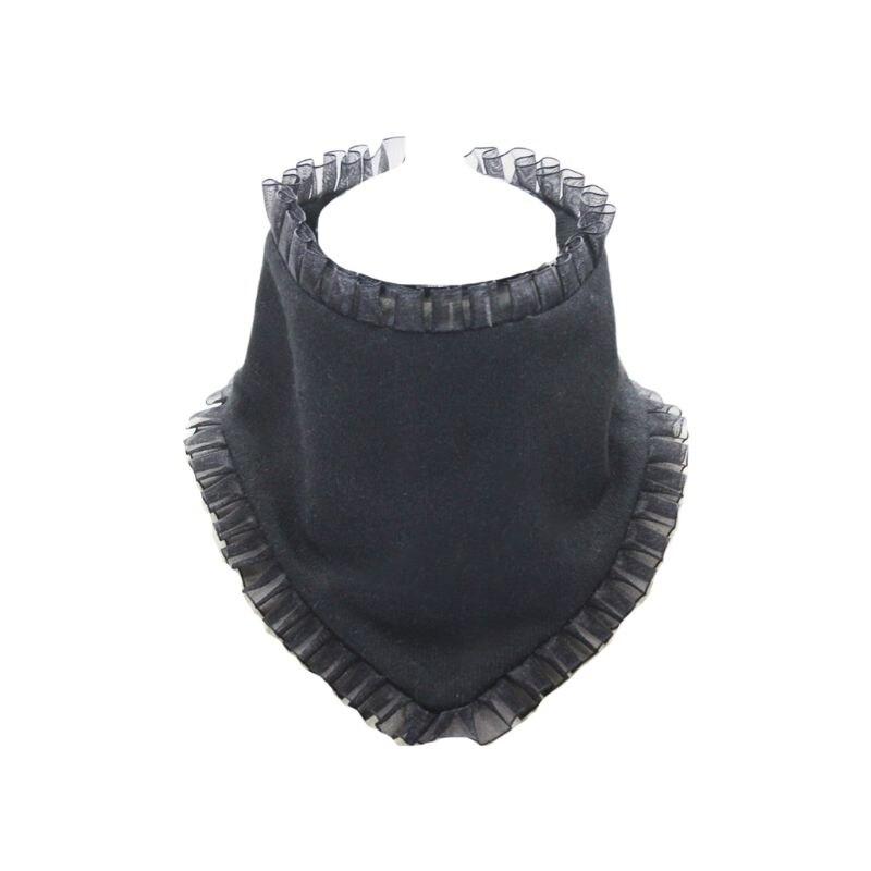 Pleated Ruffles Rim High Fake Collar Triangle Necklace Choker Wool Neck Warmer 35EF