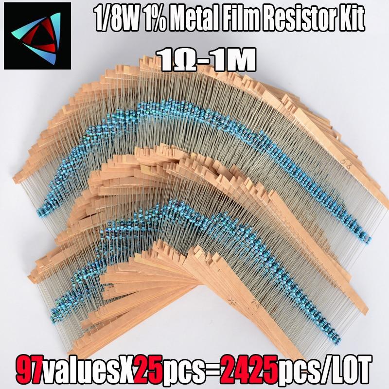 2425 Pcs 1% 1/8W 97 Value  1R~1M Ohm Metal Film Resistor  Assorted Kit Passive Components Z15 Drop ship|resistor assorted kit|metal film resistorfilm resistors - AliExpress