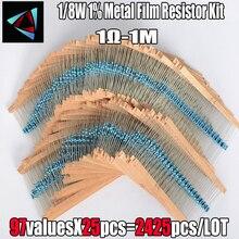 2425 Pcs 1% 1/8W 97 Value 1R~1M Ohm Metal Film Resistor Asso