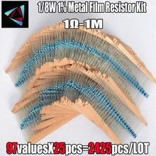 2425 pces 1% 1/8w 97 valor 1r ~ 1m ohm metal filme resistor sortido kit componentes passivos z15 navio da gota