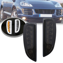 For Porsche LED DRL Turn signals Position Daytime Running Light for Porsche Cayenne I 957 9PA 2006-2010 Smoked Lens White/Amber for porsche cayman 987 boxster headlights2004 2008 projector lens drl light function amber turn light new arrival