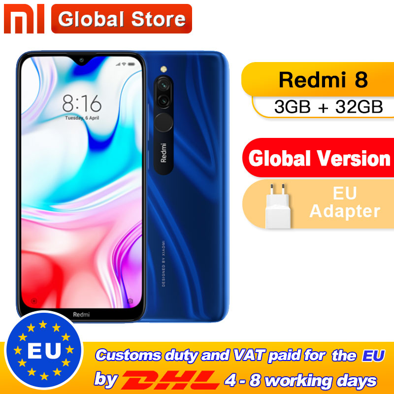 Global Version Xiaomi Redmi 8 3GB 32GB Smartphone Snapdragon 439 Octa Core 12MP Dual Camera Mobile Phone 5000mAh